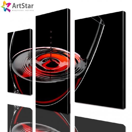 Модульная картина - Бокал вина, Art. kit_0033
