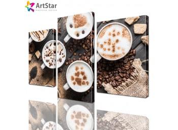 Модульная картина - Чашки с кофе, Art. kit_0040