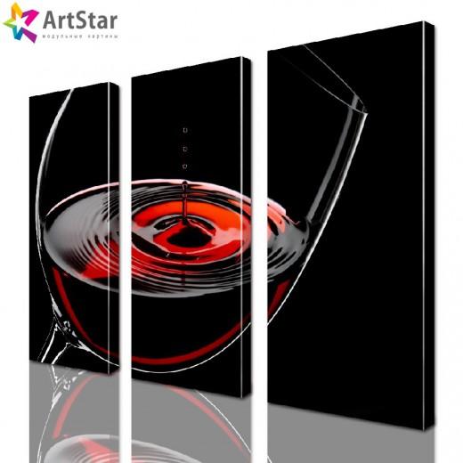 Картина модульная - Бокал вина, Art. kit_0013
