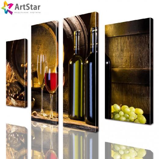 Модульная картина - Бутылки вина, Art. kit_0072