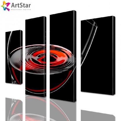 Модульная картина - Красное вино, Art. kit_0073