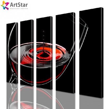 Модульные картины - Бокал красного вина, Art. kit_0093