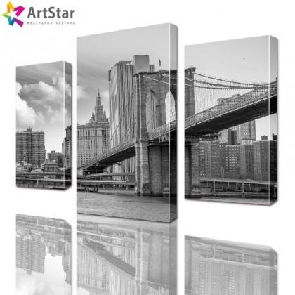 Модульная картина - Бруклинский мост (черно-белый), Art. sity_0097