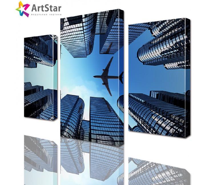 Модульная картина - Самолет над городом, Art. sity_0107