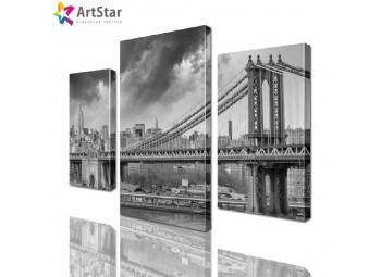 Модульная картина - Черно-белый мост, Art. sity_0113