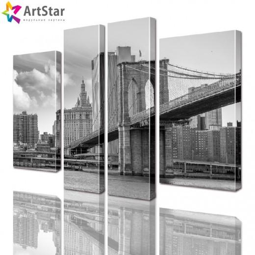 Модульные картины - Бруклинский мост ЧБ, Art. sity_0213