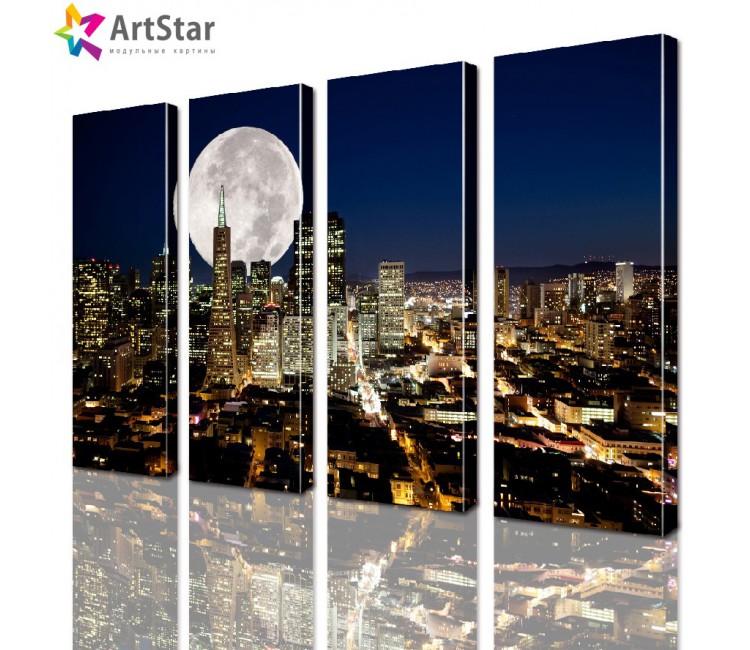 Модульные картины - Лунная ночь в городе, Art. sity_0151