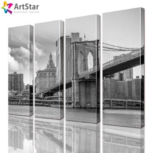 Модульные картины - Бруклинский мост ретро фото, Art. sity_0154