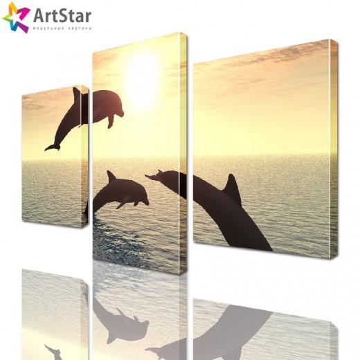Картина модульная - Дельфины, Art. anml_0026