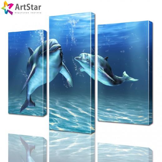 Картина модульная - Дельфины, Art. anml_0039
