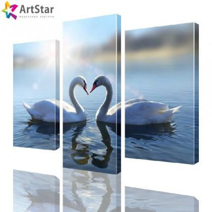 Картина модульная - Лебеди на пруду, Art. anml_0041_SALE