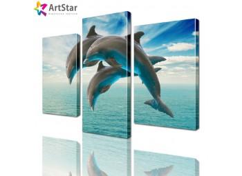 Картина модульная - Дельфины, Art. anml_0044