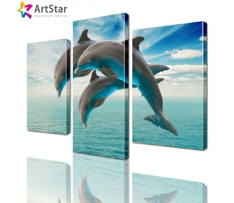 Картина модульная - Дельфины, Art. anml_0044_sale
