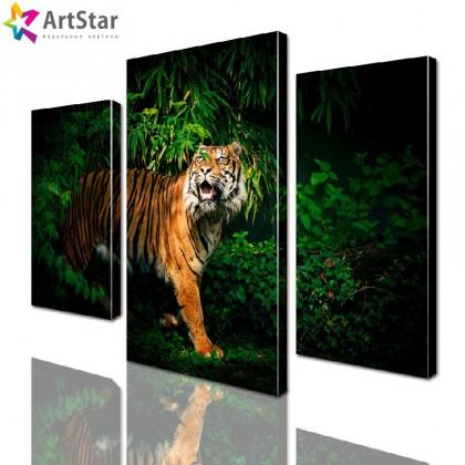 Картина модульная - Тигр в джунглях, Art. anml_0046