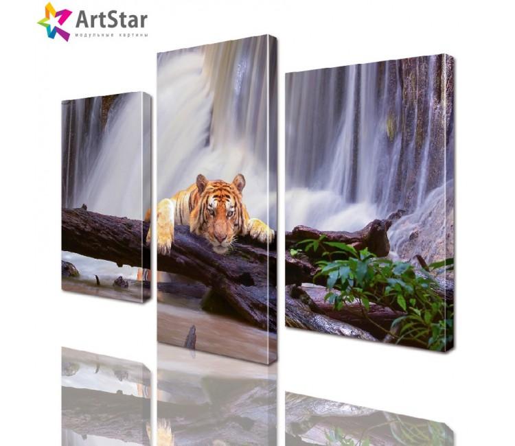 Картина модульная - Тигр у водопада, Art. anml_0048