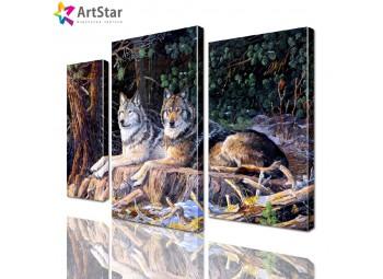 Картина модульная - Волки, Art. anml_0184