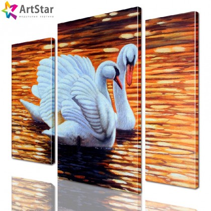 Лебеди, Модульная картина, Art. anml_0185