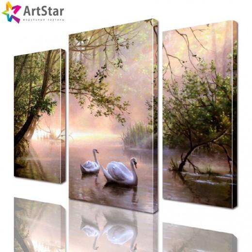 Картина модульная - Белые лебеди, Art. anml_0187