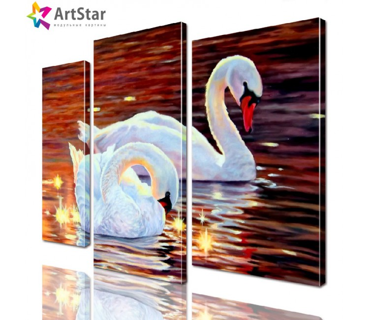 Картина модульная - Пара красивых лебедей, Art. anml_0188