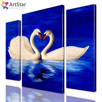 Картина модульная - Лебеди рисованные, Art. anml_0189