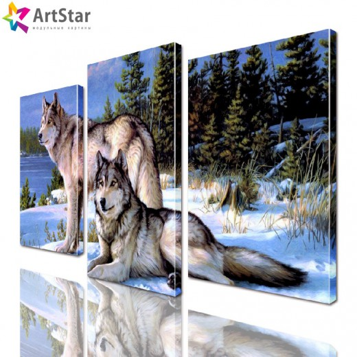 Картина модульная - Пара волков, Art. anml_0190