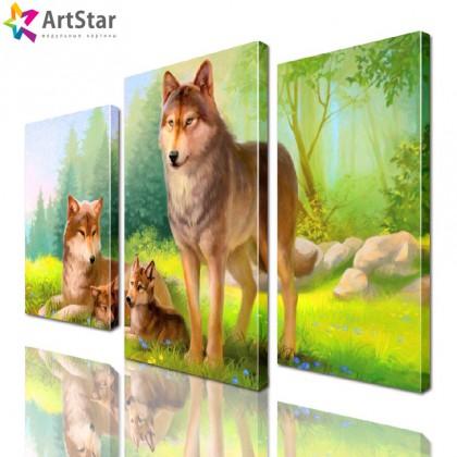 Картина модульная - Красивые волки, Art. anml_0192