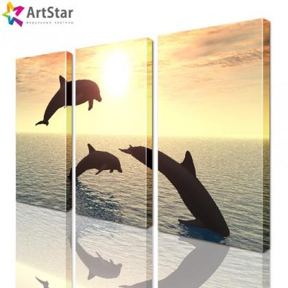 Картина модульная - Дельфины на закате, Art. anml_0002