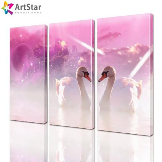Картина модульная - Лебеди на розовом, Art. anml_0014