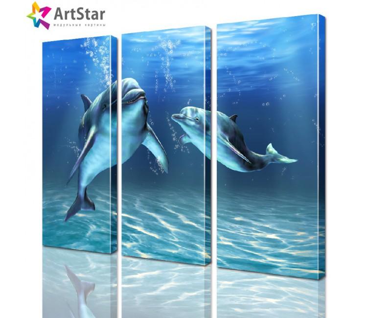 Картина модульная - Пара дельфинов, Art. anml_0015