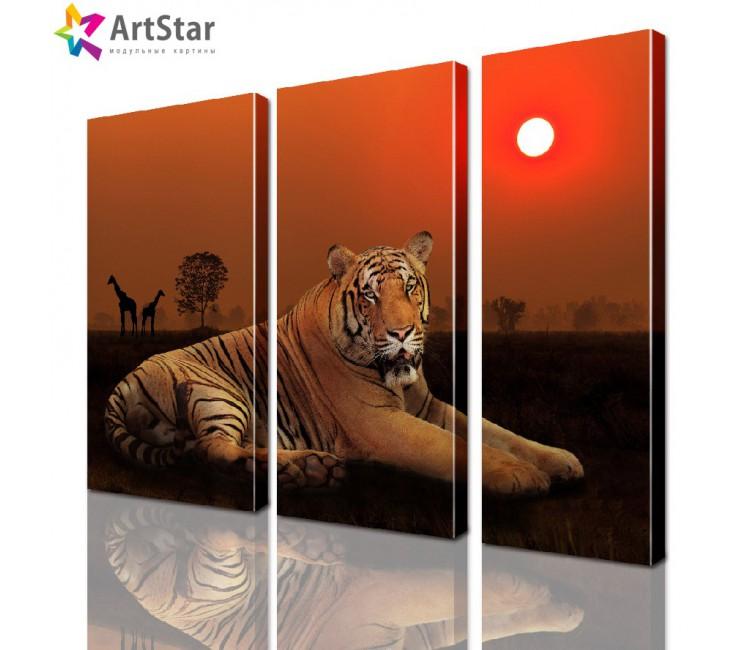 Картина модульная - Тигр в саванне, Art. anml_0018