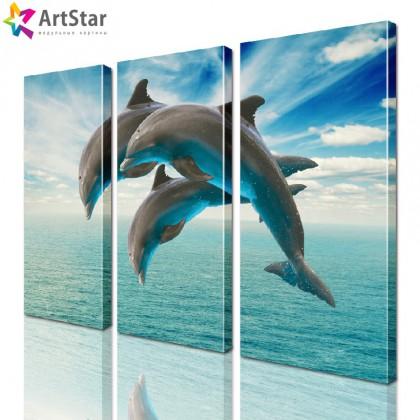 Картина модульная - Прыгающие дельфины, Art. anml_0020