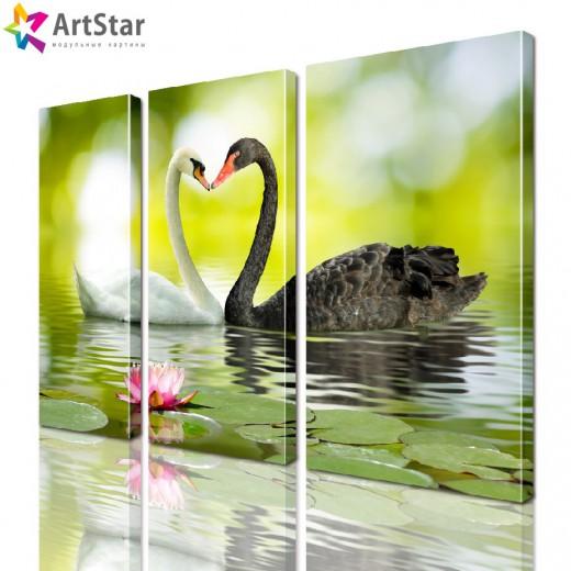 Картина модульная - Лебеди в лилиях, Art. anml_0023