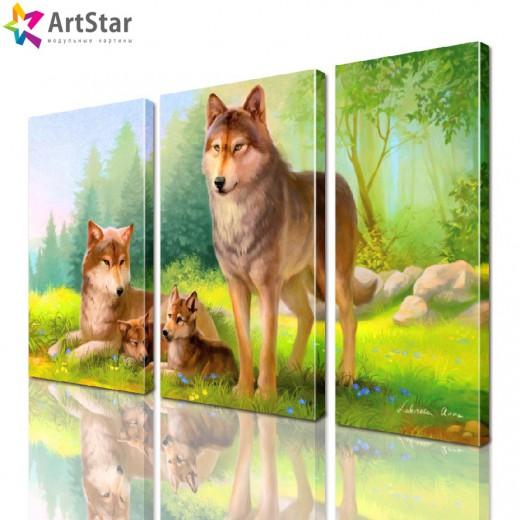 Картина модульная - Волки, Art. anml_0170