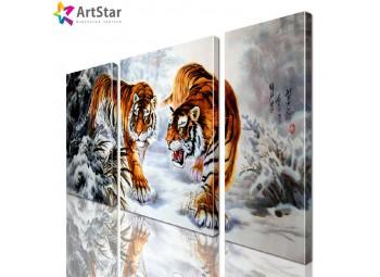 Картина модульная - Тигры, Art. anml_0171