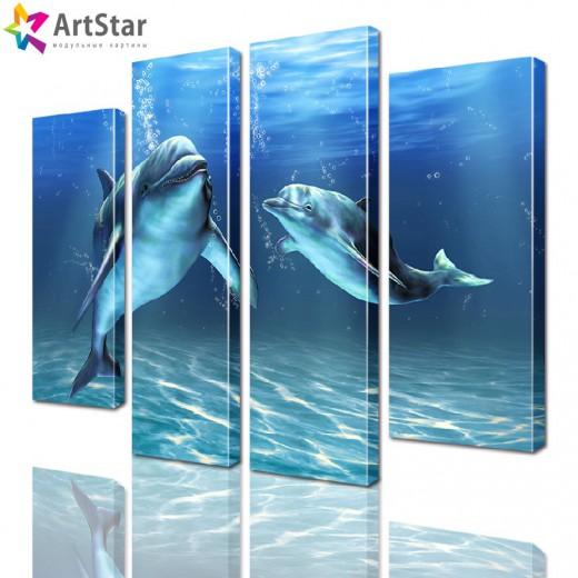 Модульная картина - Дельфины, Art. anml_0087