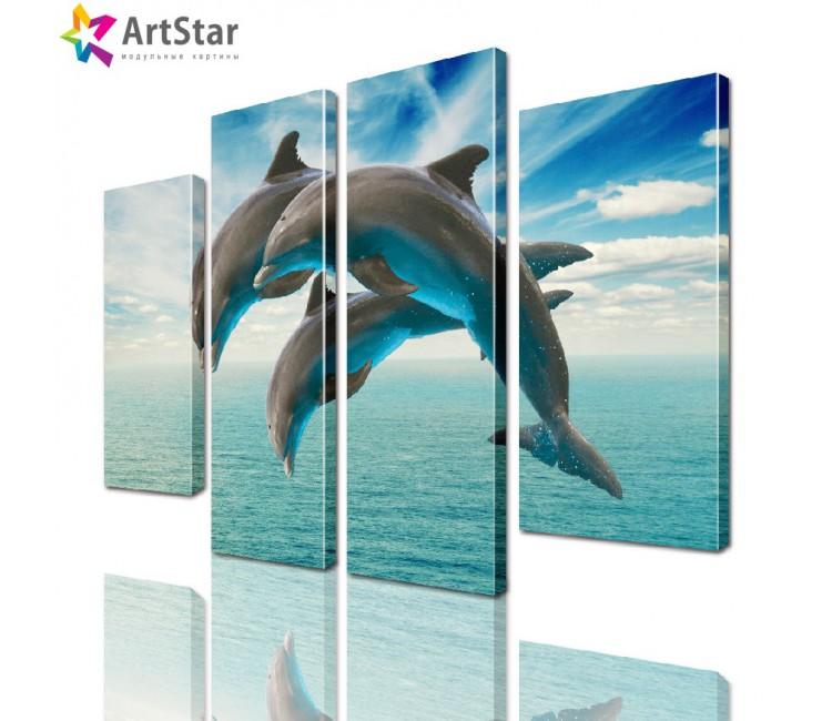 Модульная картина - Дельфины, Art. anml_0092