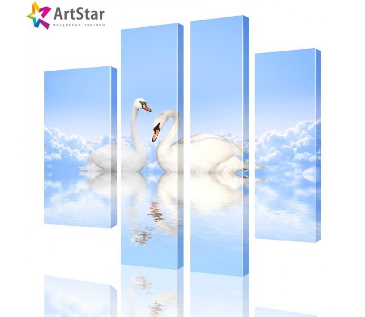 Модульная картина - Лебеди на облаках, Art. anml_0093
