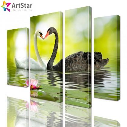 Модульная картина - Лебеди на кувшинках, Art. anml_0095