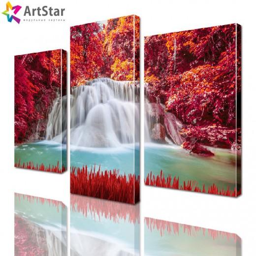 Модульная картина - Водопад в лесу, Art. natrl_0057