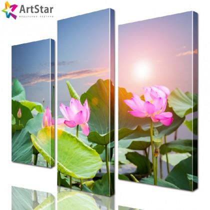 Модульная картина - Цветущие лилии, Art. natrl_0058