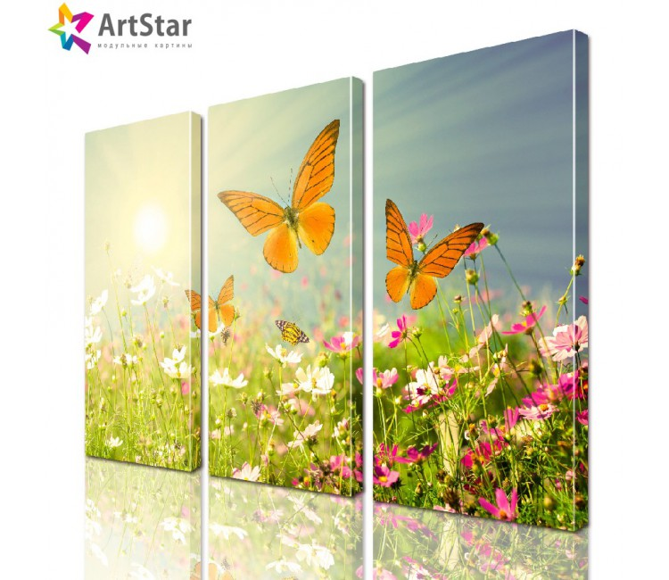 Модульная картина - Бабочки над цветами, Art. natrl_0018