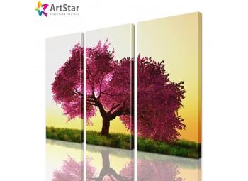 Модульная картина - Бардовое дерево, Art. natrl_0020